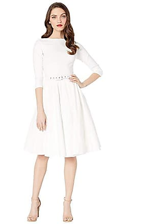 3cf50ae4f20c0 Unique Vintage 1950s Style Stretch Sleeved Devon Swing Dress (Ivory) Womens  Dress
