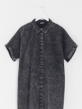 Noisy May shirt dress in black acid wash