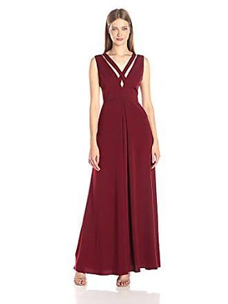 a118ed018792 Jill Stuart Womens Deep-V Criss Cross Gown, Oxblood, 8