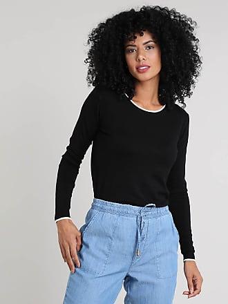 Basics Suéter Feminino Básico em Tricô Decote Redondo Preto