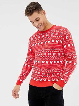 Asos christmas sweatshirt with mickey fairisle print - Red