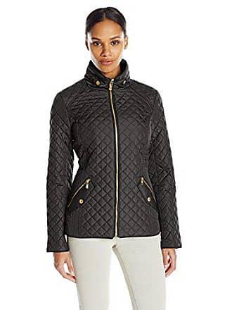 Ellen Tracy Outerwear Womens Zip Font Quilt Jacket, Black, Large