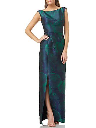 Kay Unger Abstract Floral-Print Sleeveless Bateau-Neck Column Gown with Slit