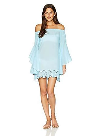 7c64f031b5 PilyQ Womens Blue Off The Shoulder Eyelet Cover Up Swimsuit Dress, Cabana,  XS/