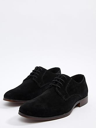 27c37efab2346 Asos Chaussures derby en daim avec semelle naturelle - Noir - Noir