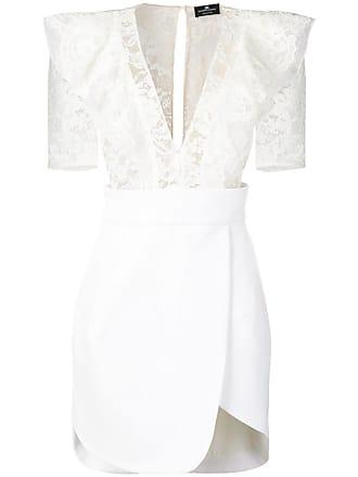 Elisabetta Franchi ruffled lace panel dress - White