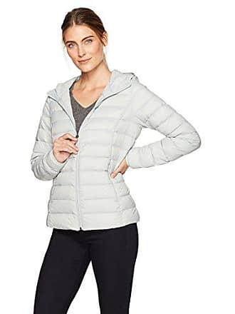 Amazon Essentials Womens Lightweight Water-Resistant Packable Hooded Down Jacket, Light Grey, Medium
