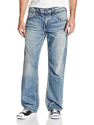 Silver Jeans Co Mens Gordie Loose Fit Straight Leg, Light Indigo, 36x32