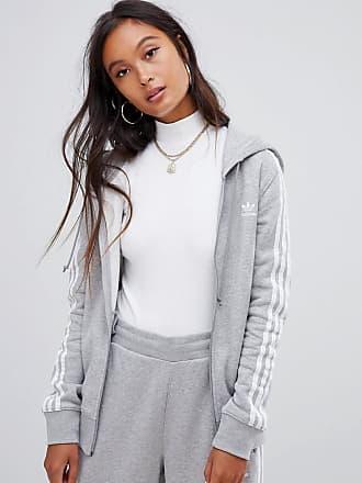 d4396e14afd adidas Originals Sudadera con capucha gris con tres rayas de adidas  Originals