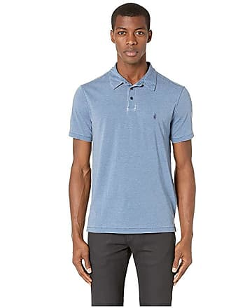 488180c8e John Varvatos Star U.S.A. Anton Short Sleeve Burnout Polo with Peace Sign  K4153V1B (Stream Blue