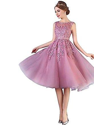 a3af73209a0156 MisShow Damen Elegant Ämellos Spitze Abendkleid Hochzeitskleid Standesamt Tüll  kleid Kurz Altrosa 34