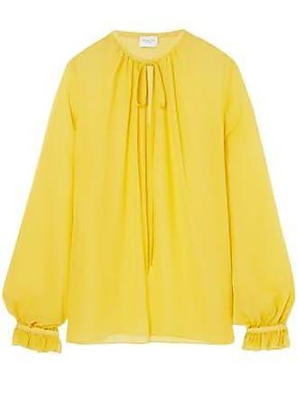 Giambattista Valli Giambattista Valli Woman Gathered Silk-georgette Blouse Yellow Size 40