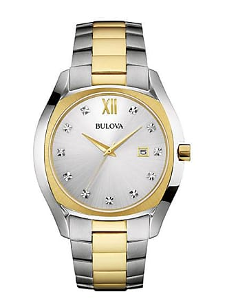 Zales Mens Bulova Diamond Accent Two-Tone Watch with Silver Dial (Model: 98D125)