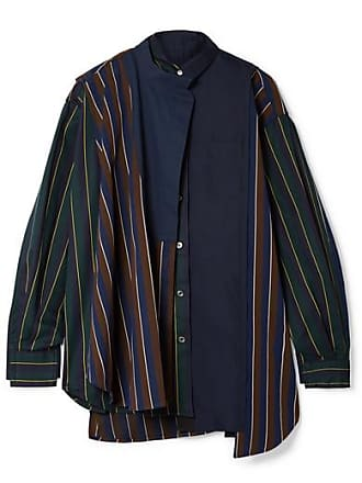 sacai Oversized Paneled Striped Twill And Cotton-poplin Shirt - Army green