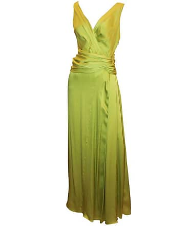 62a3a7c4a70 Dior Canary Green Silk Sleeveless Ruched Gown