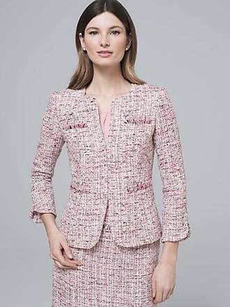 White House Black Market Womens Tweed Jacket by White House Black Market, Sari Pink/White, Size 00