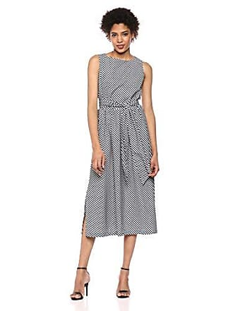 Anne Klein Womens MIDI Dress with Attached SASH, Black/Anne White, L
