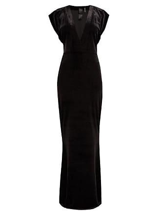 Norma Kamali V Neck Velvet Maxi Dress - Womens - Black
