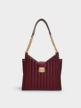 58672259867 Michael Michael Kors Whitney Medium Chain Shoulder Tote Bag in Oxblood  Quilted Lambskin