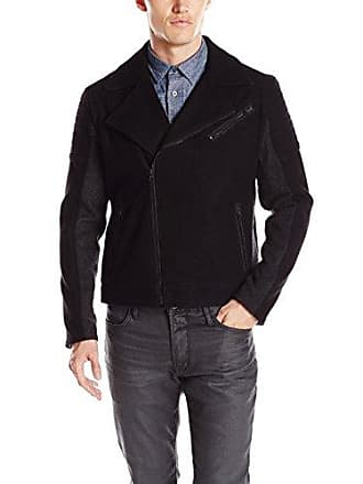 Kenneth Cole Reaction Mens Wool Mix Moto Jacket, Black Combo, XX-Large