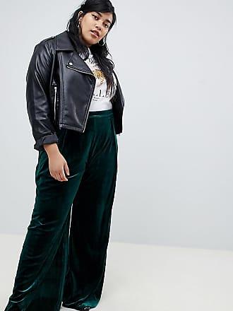 0f97d7bd61 Glamorous Curve Pantalones de pernera ancha de talle alto en tejido de  terciopelo lujoso de Glamorous
