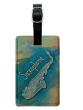 Graphics & More Graphics & More Saxophone Instrument Music Woodwind Leather Luggage Id Tag Suitcase, Black