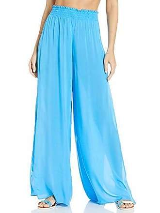 Ramy Brook Womens Athena Wide Leg Slit Pant, Pool Blue, Small
