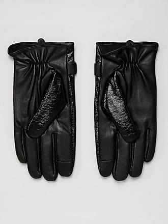 Asos leather touchscreen gloves in black vinyl finish - Black