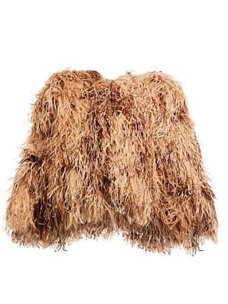 Dolce & Gabbana Ostrich Feather Cropped Bolero Jacket - Womens - Beige Multi
