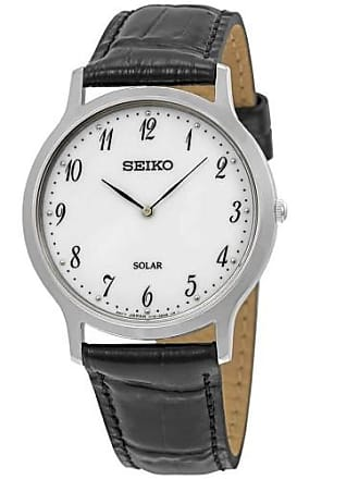 Seiko White Dial Mens Leather Watch SUP863P1