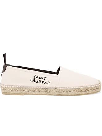 Saint Laurent Logo-embroidered Leather-trimmed Canvas Espadrilles - White
