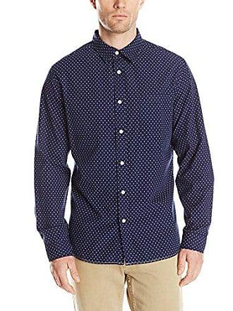 Surfside Supply Company Mens Long Sleeve Dot Dobby Woven Shirt, Midnight, Small