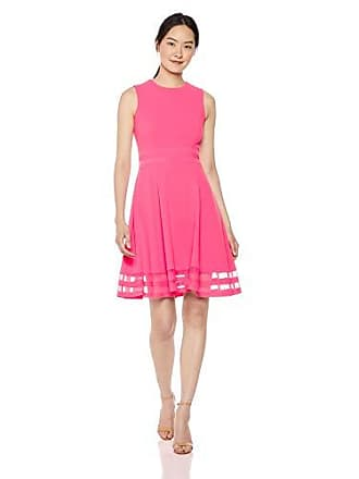 a80eb4c938c Calvin Klein Womens Sleeveless Round Neck Fit and Flare Dress with Sheer  Inserts, Coral,