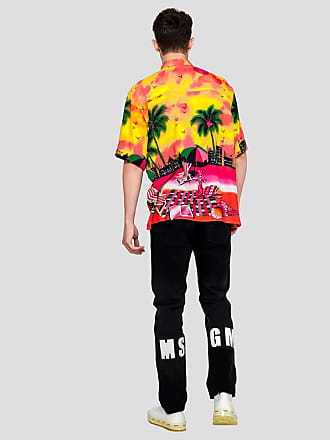 Msgm denim trousers with msgm print