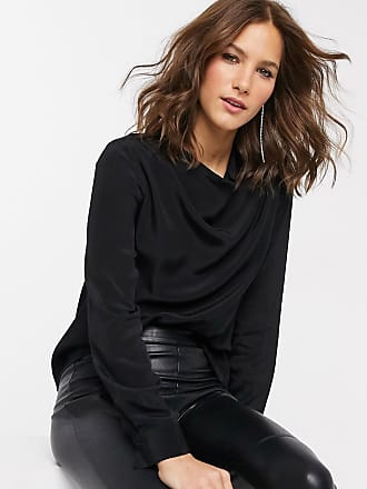 Warehouse blouse with cowl neck in black
