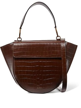 Wandler Hortensia Medium Croc-effect Leather Shoulder Bag - Dark brown