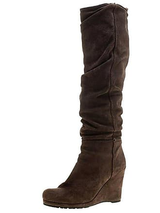 e78784bd198 Prada Brown Pleated Suede Wedge Heel Knee High Boots Size 39