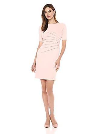 Ivanka Trump Womens Quarter Sleeve Side Ruched Starburst Dress, Blush Pink, 8