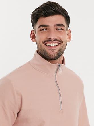 Topman Twill-Pullover in Rosa mit kurzem Reißverschluss