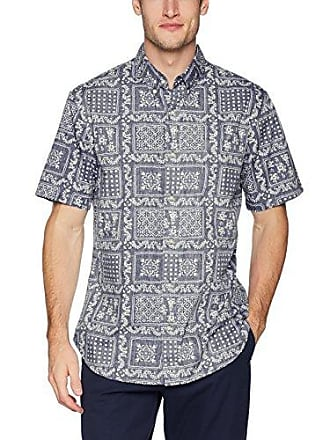 4390514b Reyn Spooner Mens Original Lahaina Weekend Wash Tailored Fit Hawaiian Shirt,  Navy, XXXL