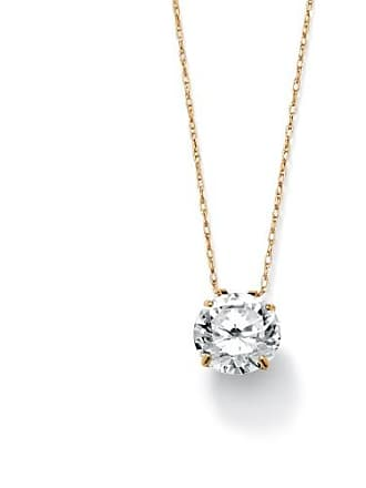 PalmBeach Jewelry 3 TCW Round Cubic Zirconia 10k Gold Solitaire Pendant and Chain 18