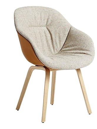 HAY About a Chair AAC 123 Soft Duo Armlehnstuhl - hellgrau/braun/Sitz Stoff Bolgheri LGG60/Rückenlehne Leder Silk SI0229/62x59,5x86cm/Gestell Eic
