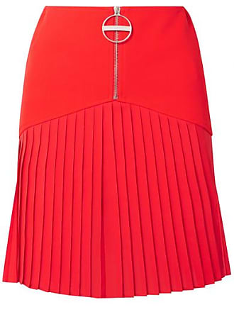15f32689e1 Givenchy Pleated Silk-blend Chiffon-trimmed Wool Mini Skirt - Red