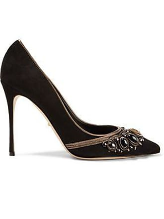 3b5fb12d29 Sergio Rossi Sergio Rossi Woman Royal Metallic Leather-trimmed Embellished  Suede Pumps Black Size 35.5