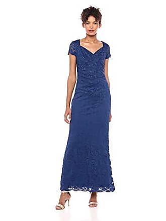 Adrianna Papell Womens Sheer Short Sleeve Lace Gown with Sequin Accents, Night Flight, 4