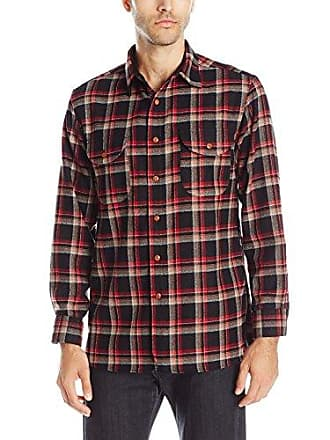 Pendleton Mens Long Sleeve Fitted Buckley Shirt, Black Red Plaid-31834, LG