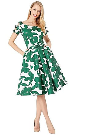 d07f0749402 Unique Vintage 1950s Bow Sleeve Selma Swing Dress (White Green Floral)  Womens Dress