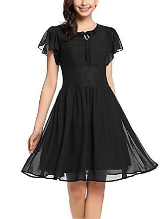 862ad80436bd29 Zeagoo Damen Chiffon Kleid Sommerkleid Elegant Partykleid Hochzeit  Festliches Kleid A Linie Kurzarm Knielang Schwarz(