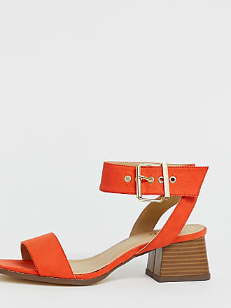 ac8e3268d31 Raid RAID Wide Fit Bessie orange square toe stacked heel sandals