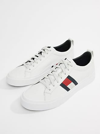 ed22e65ff9535b Tommy Hilfiger flag detail leather sneaker in white